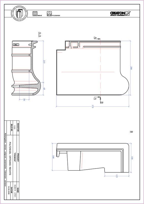 Fiser CAD produs PREMION Ţiglă laterală dreapta cu versant standard PULTOGR