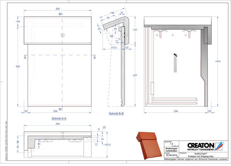 Fiser CAD produs KAPSTADT Ţiglă laterală stânga cu versant standard PultOGL