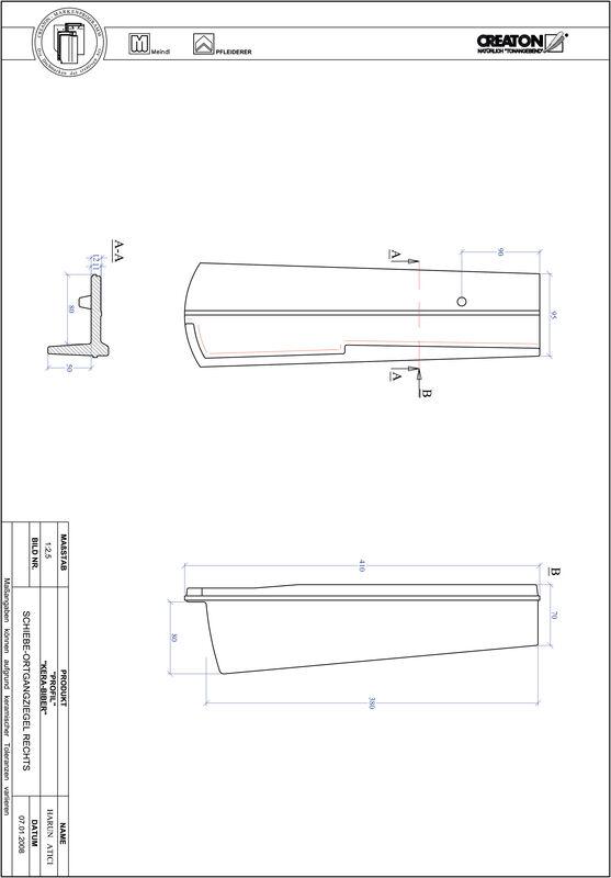 Fiser CAD produs PROFIL Taietura segment  KERA-SAECHS-18-CM-OGR