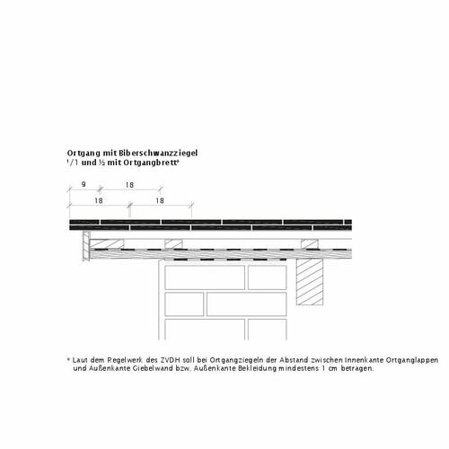 Desen tehnic produs KLASSIK Ţiglă laterală stânga Ortgangausbildung-mit-Biberschwanzziegeln-1-1-2-Ortgangbrett