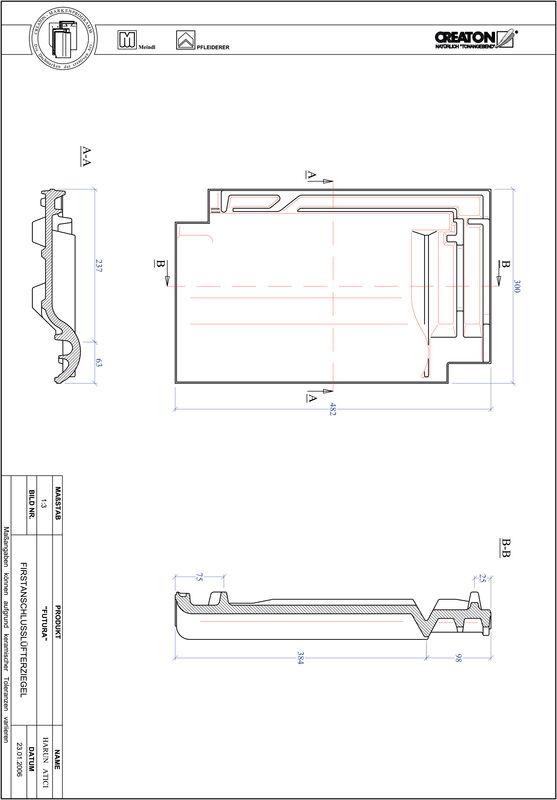 Fiser CAD produs FUTURA Ţiglă aerisire pentru conexiune la coamă FALZ