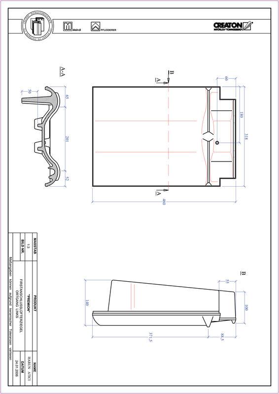 Fiser CAD produs PREMION Ţiglă laterală de aerisire pentru conexiune la coamă  stânga FALOGL