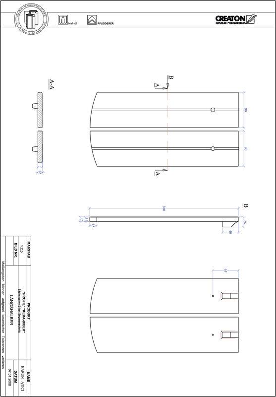 Fiser CAD produs PROFIL Taietura segment  KERA-SAECHS-18-CM-LH