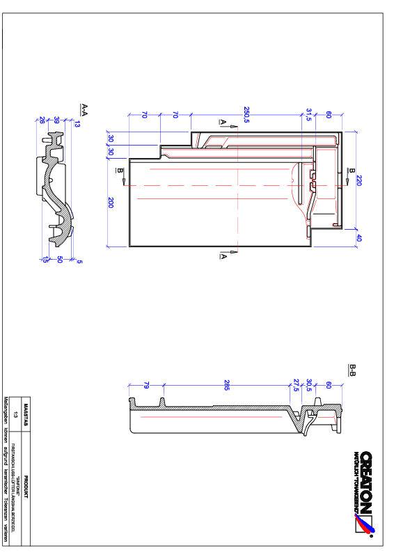 Fiser CAD produs SINFONIE Ţiglă 1/2 de aerisire pentru conexiune la coama FALLH