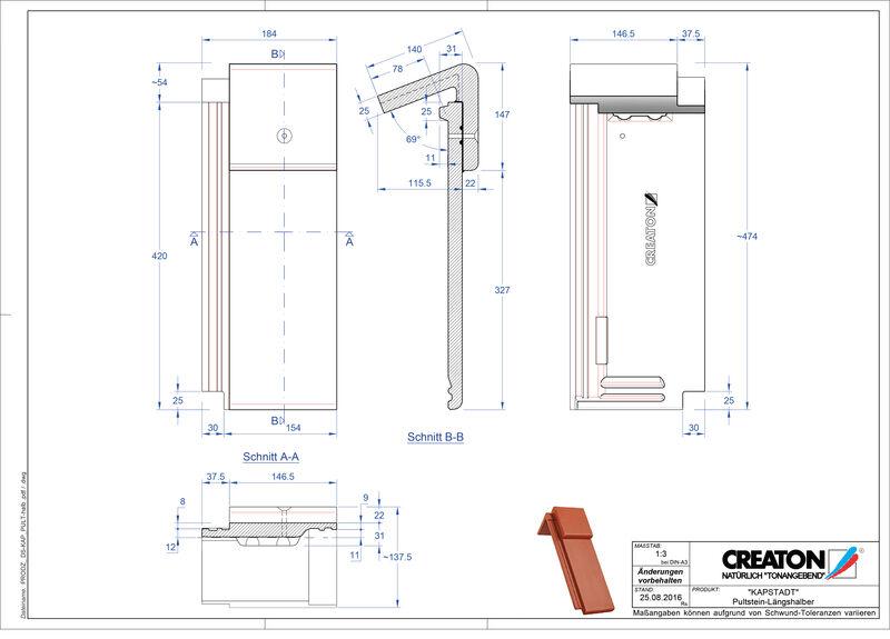 Fiser CAD produs KAPSTADT Ţiglă cu versant standard Pult-halb