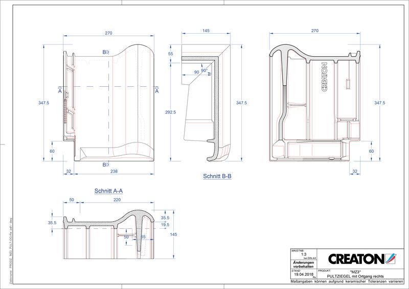 Fiser CAD produs MZ3 Ţiglă laterală dreapta cu versant standard PULTOGR