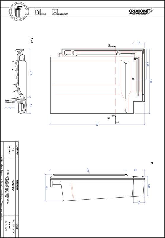 Fiser CAD produs MAGNUM Ţiglă laterală de aerisire pentru conexiune la coamă  dreapta FALOGR