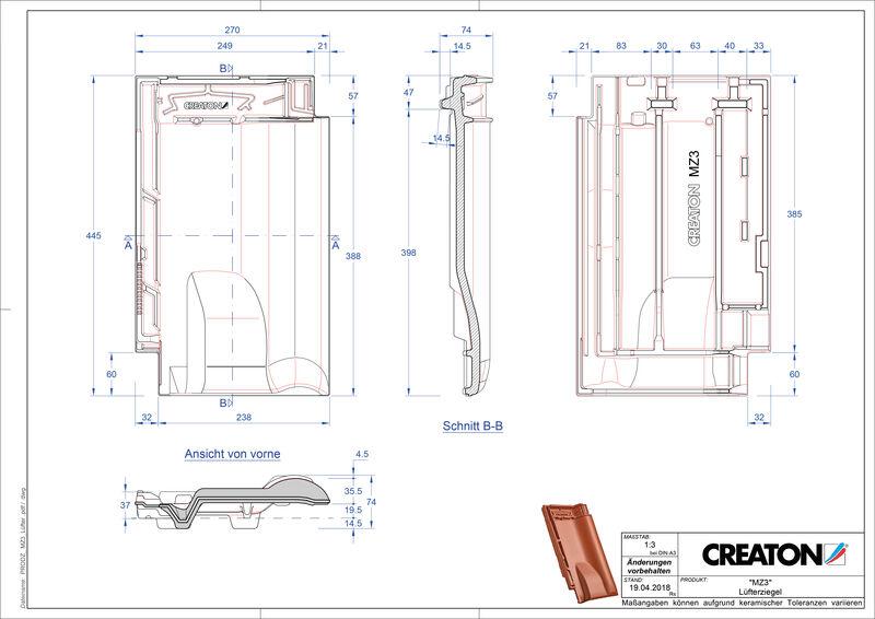 Fiser CAD produs MZ3 Ţiglă de aerisire LUEFTZ