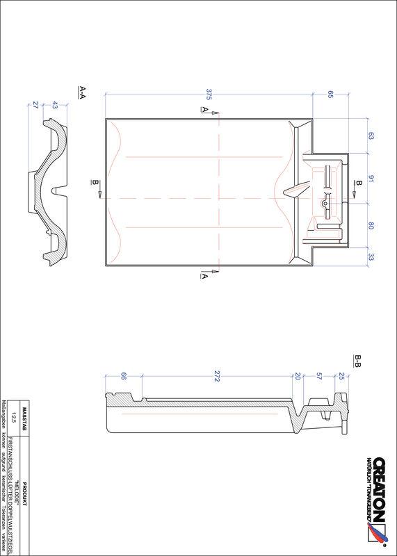 Fiser CAD produs MELODIE Ţiglă cu proeminenţă  pentru aerisire coamă FALDWZ