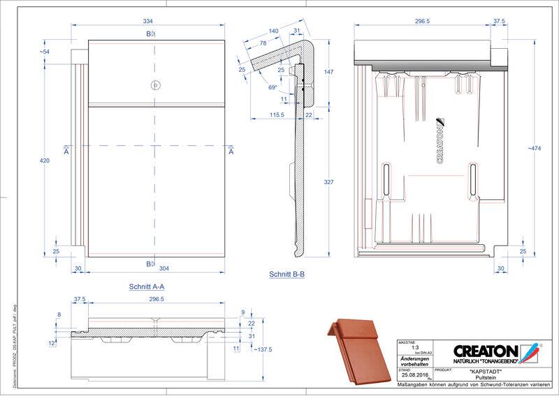 Fiser CAD produs KAPSTADT Ţiglă cu versant standard PULTSTEIN