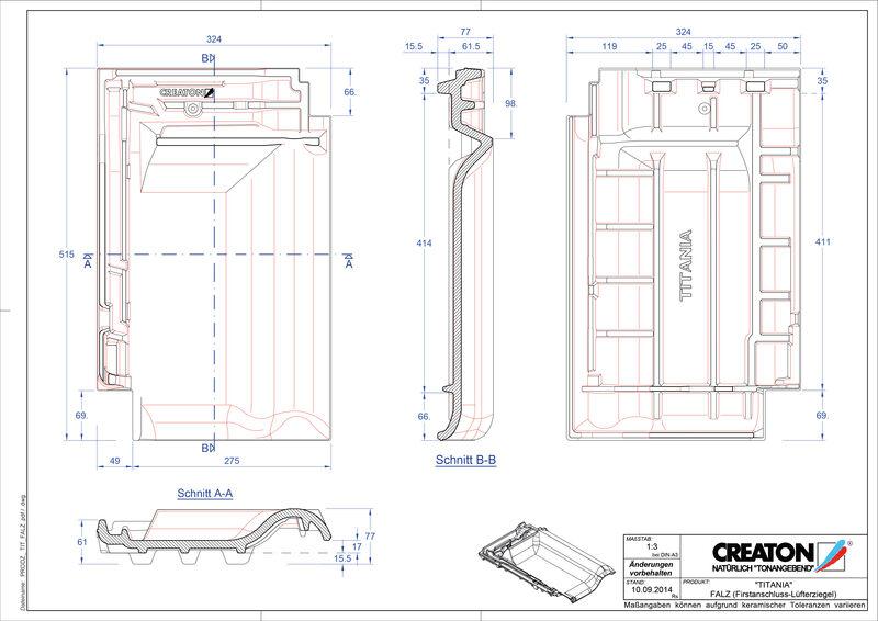 Fiser CAD produs TITANIA Ţiglă aerisire pentru conexiune la coamă FALZ