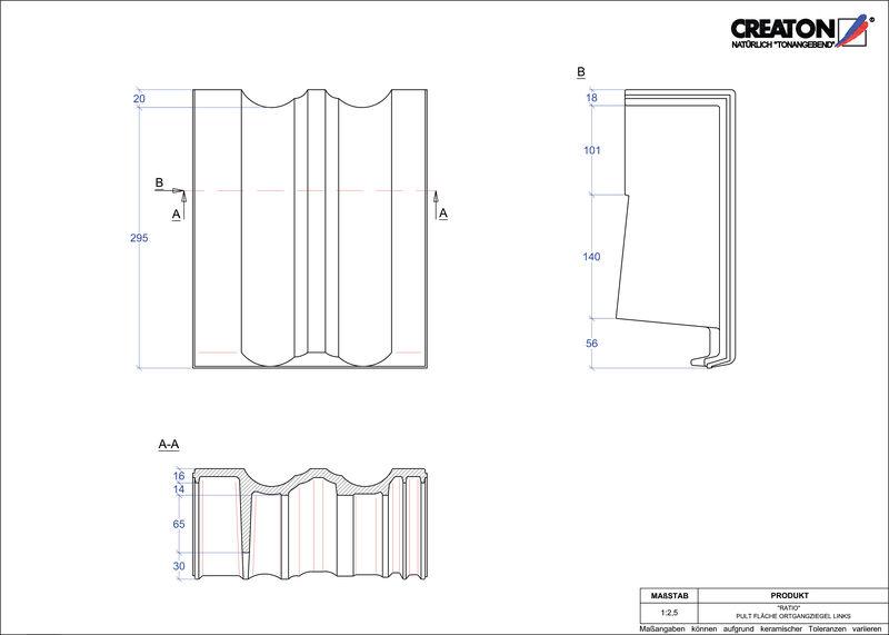 Fiser CAD produs RATIO Ţiglă laterală stânga cu versant standard PULTOGL