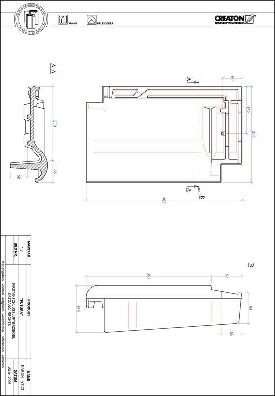 Fiser CAD produs FUTURA Ţiglă laterală de aerisire pentru conexiune la coamă  dreapta FALOGR