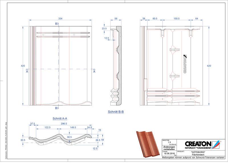 Fiser CAD produs GÖTEBORG Ţiglă de bază Flaechenstein