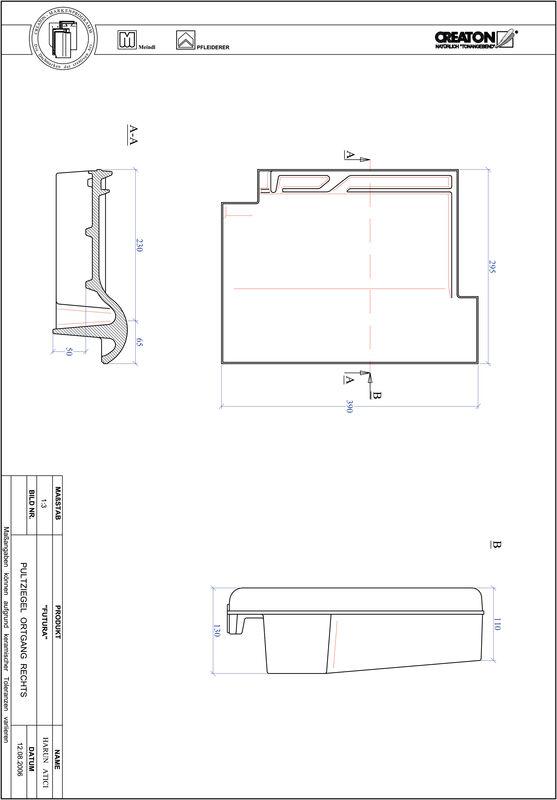 Fiser CAD produs FUTURA Ţiglă laterală dreapta cu versant standard PULTOGR