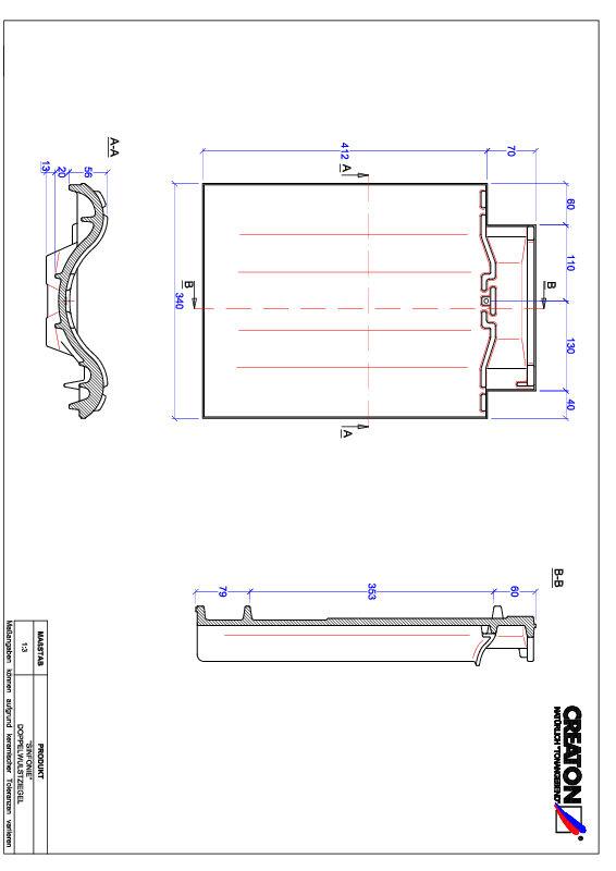 Fiser CAD produs SINFONIE Ţiglă cu proeminenta dublă DWZ