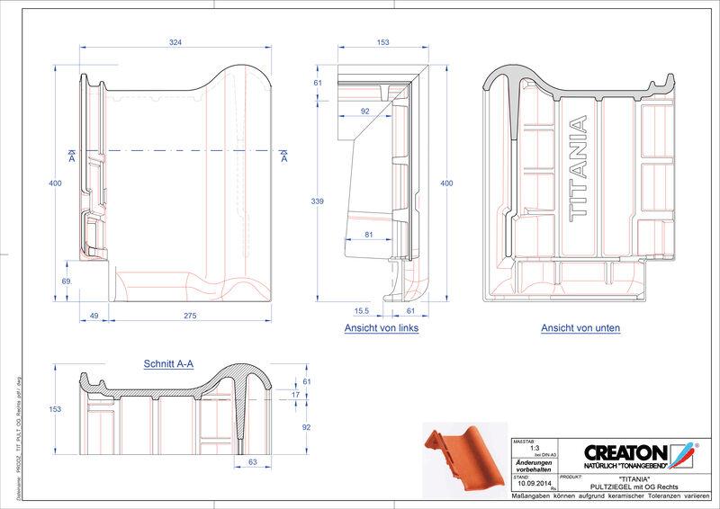 Fiser CAD produs TITANIA Ţiglă laterală dreapta cu versant standard PULTOGR