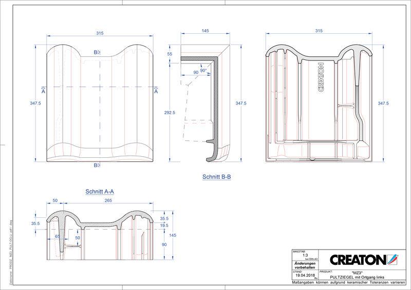 Fiser CAD produs MZ3 Ţiglă laterală stânga cu versant standard PULTOGL
