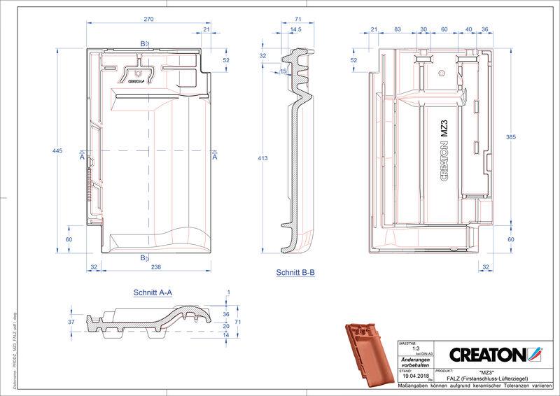 Fiser CAD produs MZ3 Ţiglă aerisire pentru conexiune la coamă FALZ