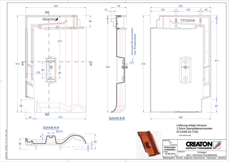 Fiser CAD produs TITANIA Element aluminiu  GRUNDALU