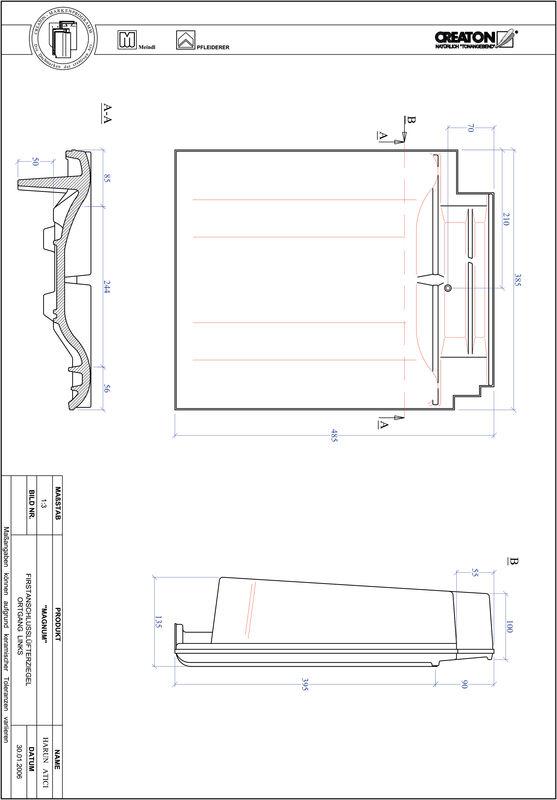 Fiser CAD produs MAGNUM Ţiglă laterală de aerisire pentru conexiune la coamă  stânga FALOGL