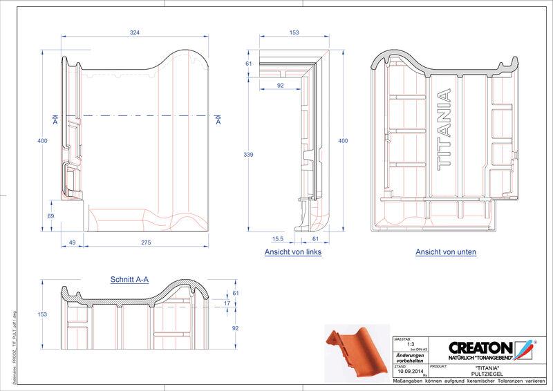 Fiser CAD produs TITANIA Ţiglă cu versant standard PULT