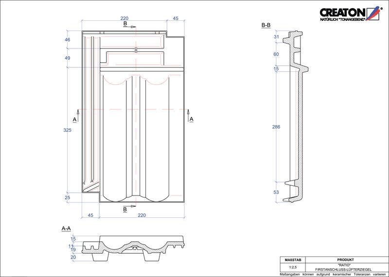 Fiser CAD produs RATIO Ţiglă aerisire pentru conexiune la coamă FALZ