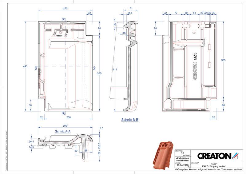 Fiser CAD produs MZ3 Ţiglă laterală de aerisire pentru conexiune la coamă  dreapta FALOGR