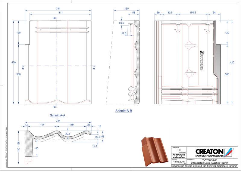 Fiser CAD produs GÖTEBORG Ţiglă laterală stânga cu versant standard PultOGL-120