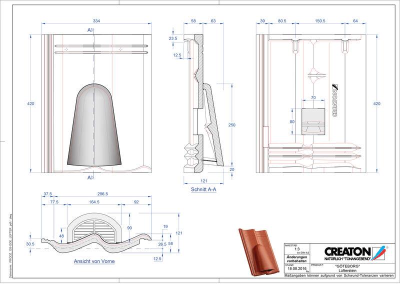 Fiser CAD produs GÖTEBORG Ţiglă de aerisire Luefterstein