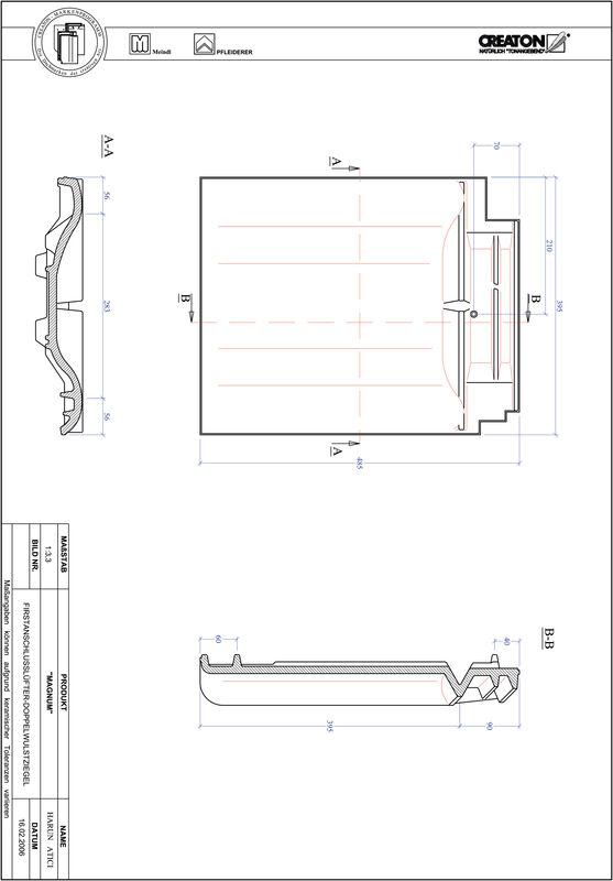 Fiser CAD produs MAGNUM Ţiglă cu proeminenţă  pentru aerisire coamă FALDWZ