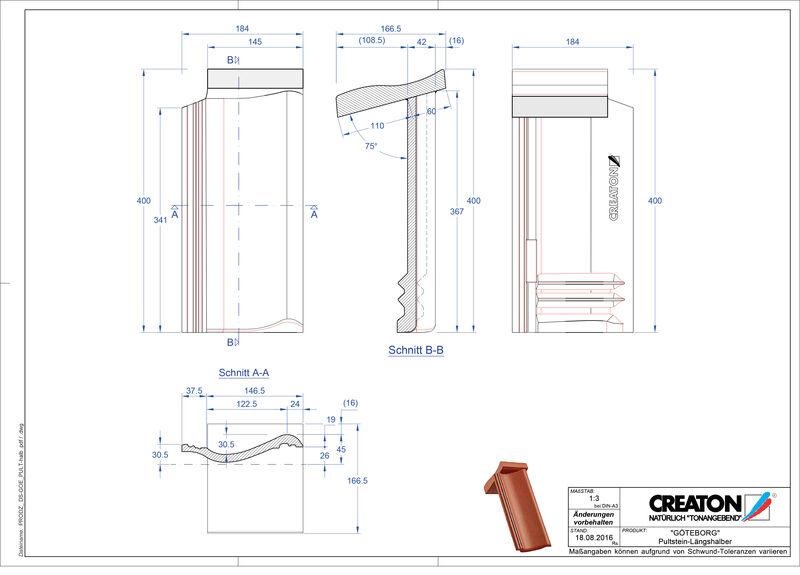 Fiser CAD produs GÖTEBORG  Ţiglă cu versant standard Pult-halb