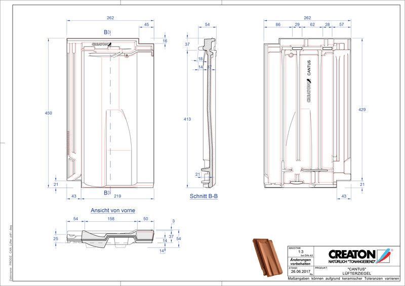 Fisier CAD produs CANTUS Ţiglă de aerisire LUEFTZ
