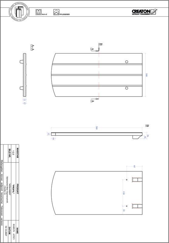 Fiser CAD produs PROFIL Taietura segment  KERA-SAECHS-18-CM-1-1