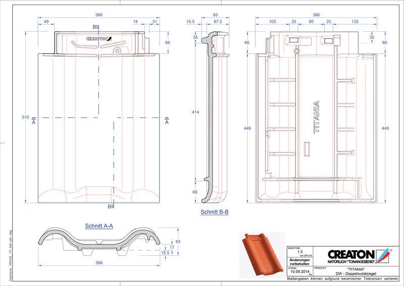 Fiser CAD produs TITANIA Ţiglă cu proeminenta dublă DWZ