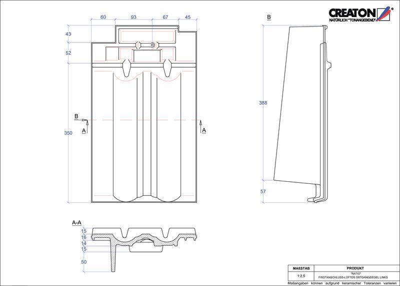 Fiser CAD produs RATIO Ţiglă laterală de aerisire pentru conexiune la coamă  stânga FALOGL