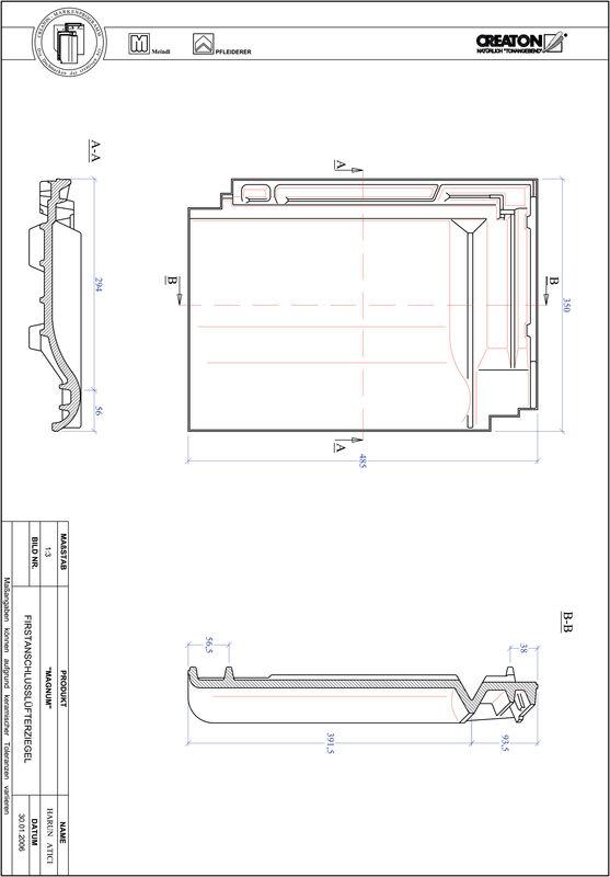 Fiser CAD produs MAGNUM Ţiglă aerisire pentru conexiune la coamă FALZ