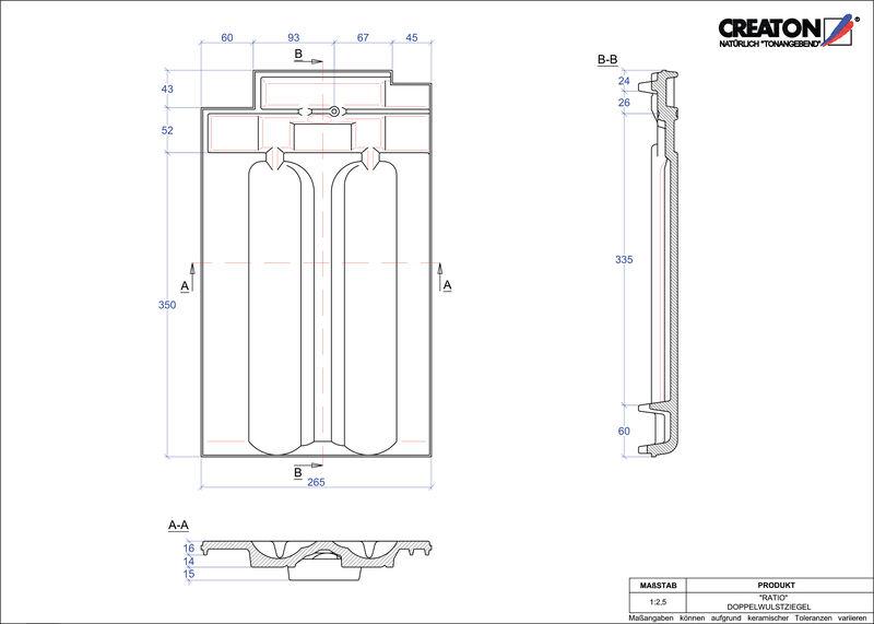 Fiser CAD produs RATIO Ţiglă cu proeminenta dublă DWZ