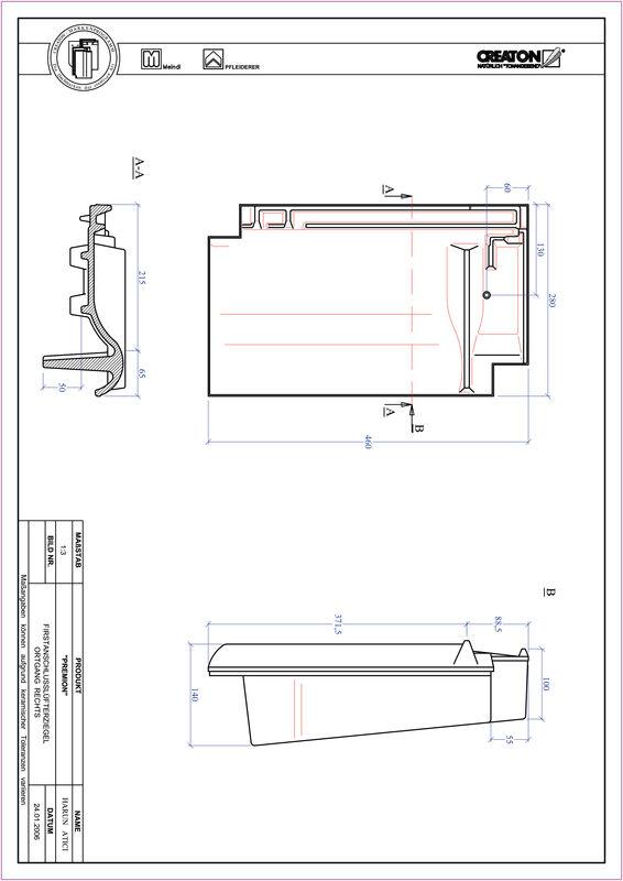 Fiser CAD produs PREMION Ţiglă laterală de aerisire pentru conexiune la coamă  dreapta FALOGR