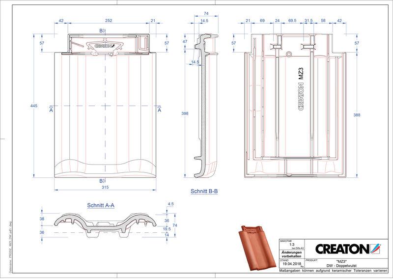 Fiser CAD produs MZ3 Ţiglă cu proeminenta dublă DWZ