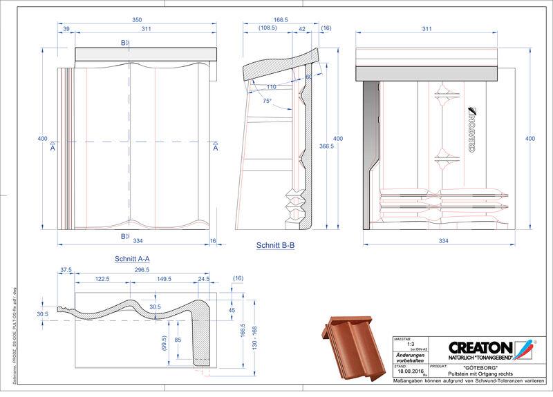 Fiser CAD produs GÖTEBORG  Ţiglă laterală dreapta cu versant standard PultOGR