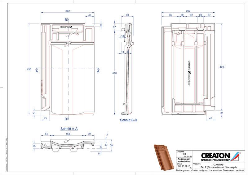 Fisier CAD produs CANTUS Ţiglă aerisire pentru conexiune la coamă FALZ