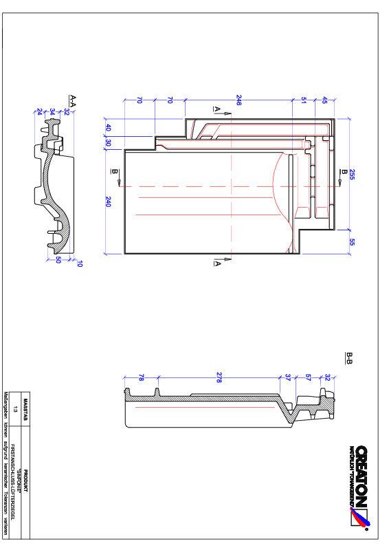 Fiser CAD produs SINFONIE Ţiglă aerisire pentru conexiune la coamă FALZ