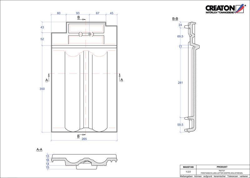 Fiser CAD produs RATIO Ţiglă cu proeminenţă  pentru aerisire coamă FALDWZ