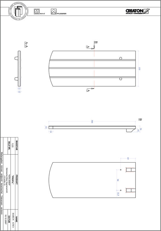 Fiser CAD produs PROFIL Taietura segment  KERA-SAECHS-15-CM-1-1