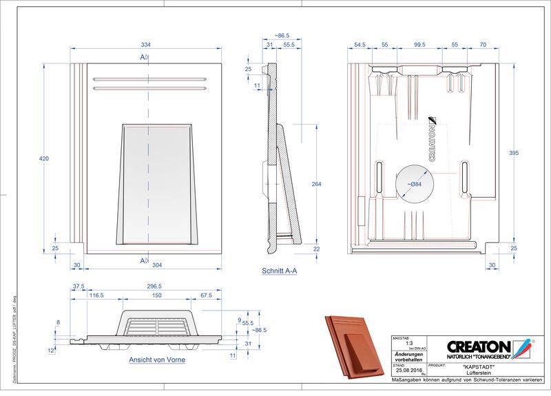 Fiser CAD produs KAPSTADT Ţiglă de aerisire Luefterstein
