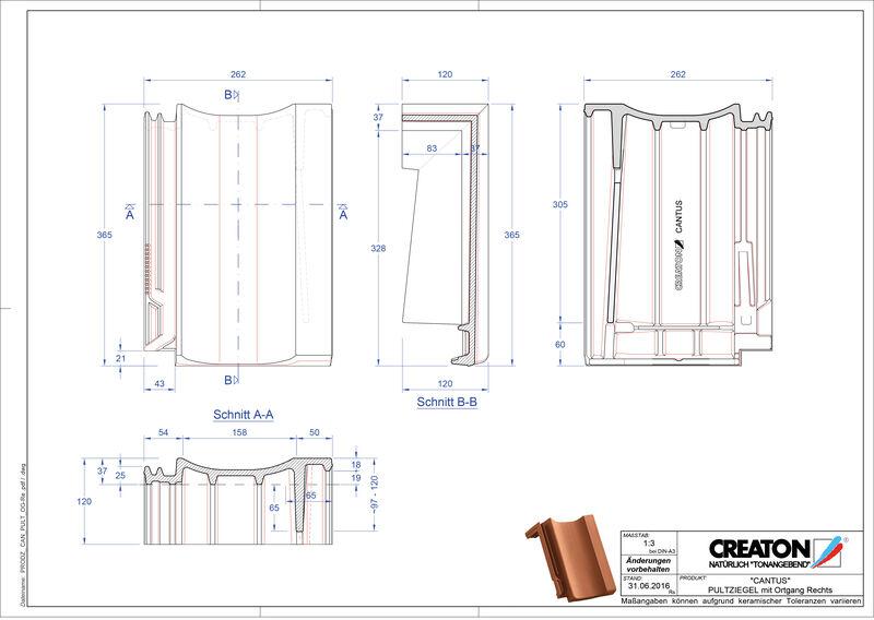 Fisier CAD produs CANTUS Ţiglă laterală dreapta cu versant standard PULTOGR