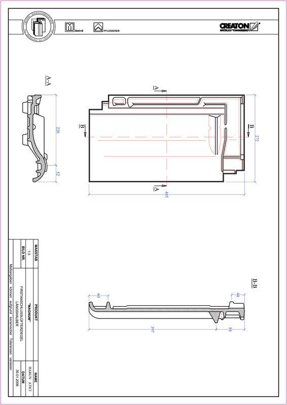 Fiser CAD produs MAGNUM Ţiglă 1/2 de aerisire pentru conexiune la coama FALLH