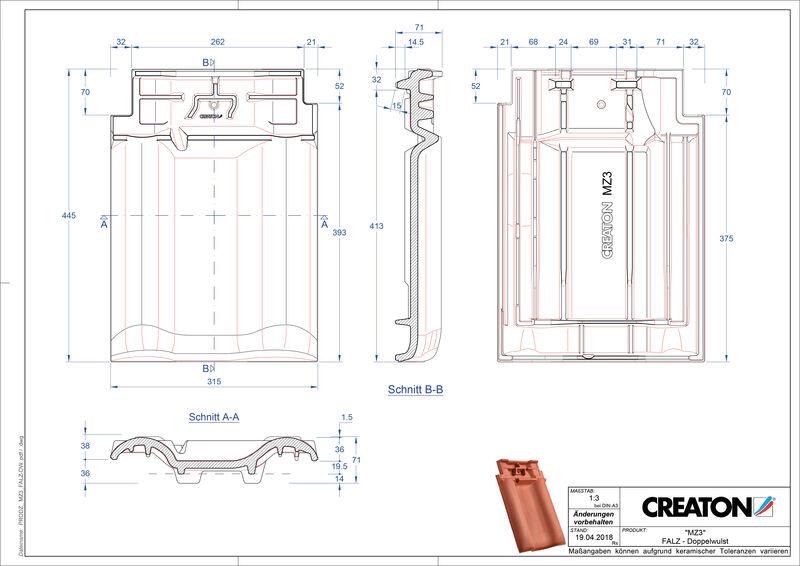 Fiser CAD produs MZ3 Ţiglă cu proeminenţă  pentru aerisire coamă FALDWZ
