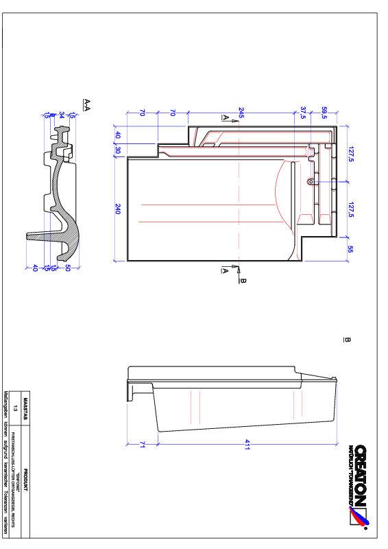 Fiser CAD produs SINFONIE Ţiglă laterală de aerisire pentru conexiune la coamă  dreapta FALOGR